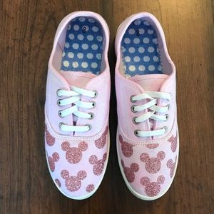 Disney Shoes - Pink Glitter Disney Mickey Mouse Lace-Up Sneakers